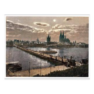 Allgemeine Ansicht, durch Mondschein, Köln, der Postkarte