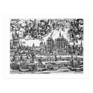 Allgemeine Ansicht von Köln, 1531 (Stich) (b/w pho Postkarte