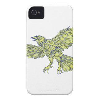 Allgemeine Raben-Fliegen-Mandala iPhone 4 Case-Mate Hüllen