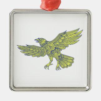 Allgemeine Raben-Fliegen-Mandala Silbernes Ornament