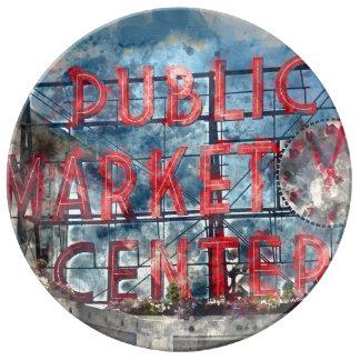 Allgemeiner Markt-Mitte in Seattle Washington Porzellanteller