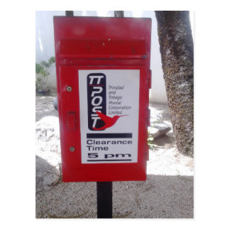 Allgemeiner Postbox (Briefkasten) in Trinidad und Postkarte