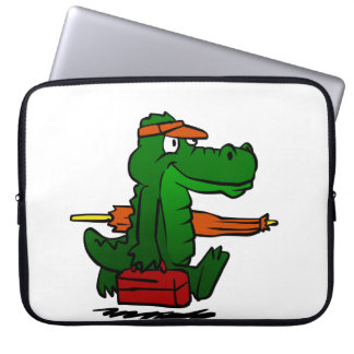 Alligator, der zum Strand geht Laptop Sleeve