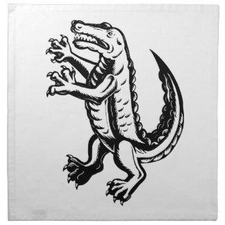Alligator stehendes Scraperboard Stoffserviette