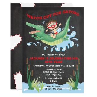 Alligatorgeburtstags-Schwimmen Party Einladungen