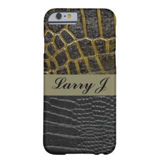 Alligatorlederne Muster-Druck-Schwarz-Typografie Barely There iPhone 6 Hülle