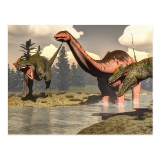 Allosaurus, der großen Brontosaurusdinosaurier Postkarte
