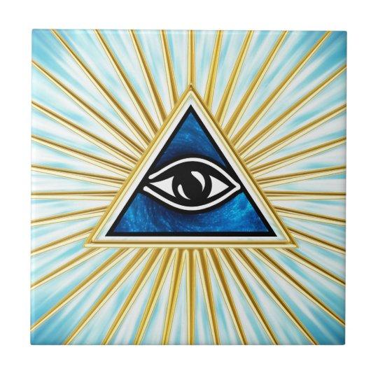 Allsehendes Auge Gottes, Pyramide, Freimaurer Keramikfliese