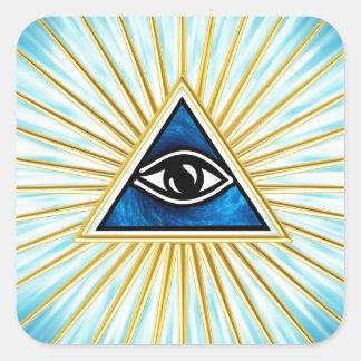 Allsehendes Auge Gottes, Pyramide, Freimaurer Quadratischer Aufkleber