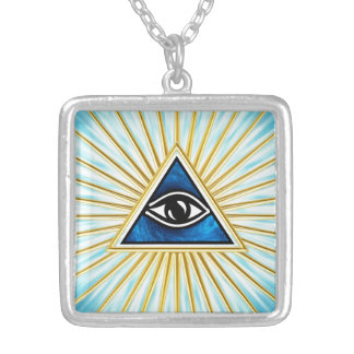 Allsehendes Auge Gottes, Pyramide, Freimaurer Versilberte Kette