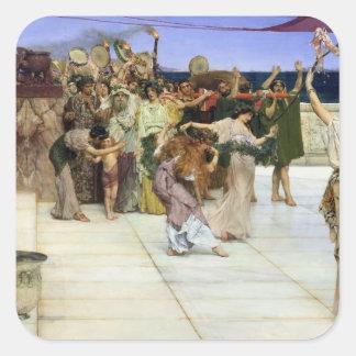 Alma-Tadema |A Widmung zum Bacchus Quadratischer Aufkleber