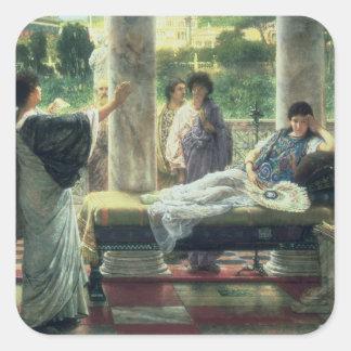 Alma-Tadema | Catullus, das seine Gedichte liest Quadratischer Aufkleber