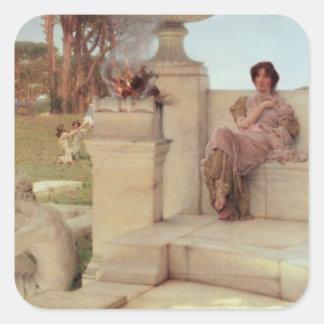 Alma-Tadema | die Stimme von Spring, 1908 Quadratischer Aufkleber