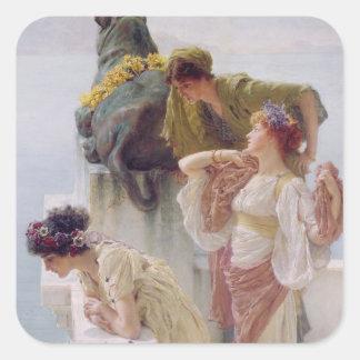 Alma-Tadema | ein Coign von günstigem, 1895 Quadratischer Aufkleber