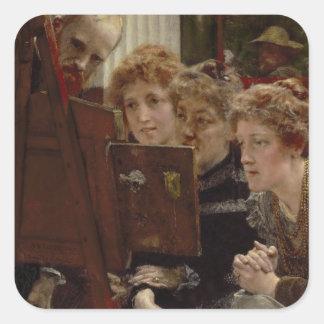 Alma-Tadema | ein Familien-Gruppe, 1896 Quadratischer Aufkleber