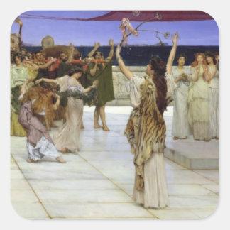 Alma-Tadema | eine Widmung zum Bacchus Quadratischer Aufkleber