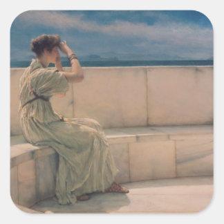 Alma-Tadema | Erwartungen, 1885 Quadratischer Aufkleber