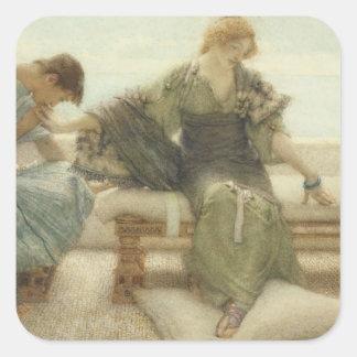 Alma-Tadema | fragen mich nicht mehr, 1886 Quadratischer Aufkleber