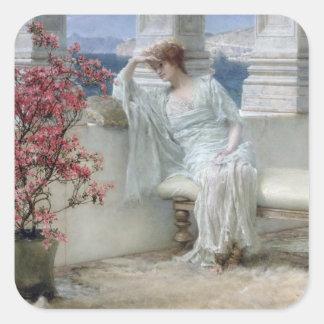 Alma-Tadema | ihre Augen sind mit ihrem thoughts� Quadratischer Aufkleber