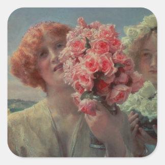 Alma-Tadema | Sommer anbietend, 1911 Quadratischer Aufkleber