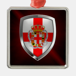 Almería metallisches Emblem Quadratisches Silberfarbenes Ornament