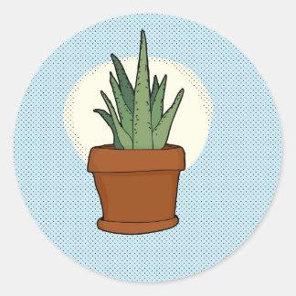 Aloe-Pflanzen-Aufkleber Runder Aufkleber