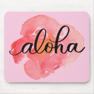 Aloha Abstract Flower Mousepad for Home or Office