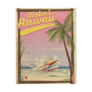 Aloha! Art-Reiseplakat Hawaiis Vintages Holzleinwand