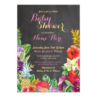 Aloha Babyparty laden tropisches Luau Mädchen-Rosa 12,7 X 17,8 Cm Einladungskarte