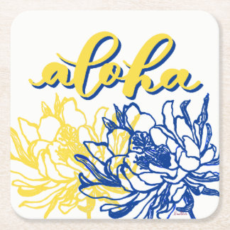 Aloha Blue Yellow Cereus Flowers Coasters