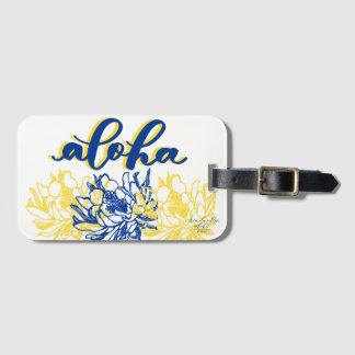 Aloha blaue gelbe Säulenkaktus-Gepäckanhänger Gepäckanhänger