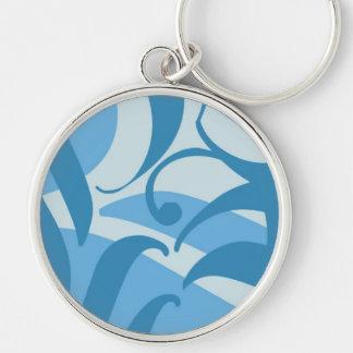 Aloha blaues ❀ Spritzen, Schablone hübsches keycha Silberfarbener Runder Schlüsselanhänger