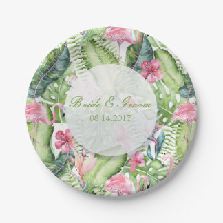 Aloha Flamingo-tropische Strand-Hochzeit Pappteller 17,8 Cm