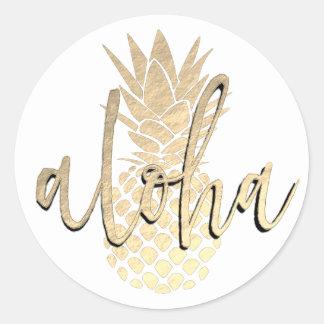 aloha goldene Ananas Runder Aufkleber