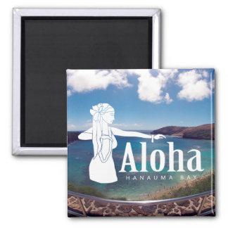 Aloha Hawaii-Inseln - Hula Tänzer Quadratischer Magnet