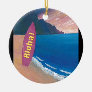 Aloha Hawaii-Surfer-Retro Plakat Keramik Ornament