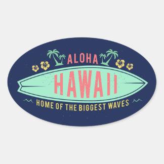 Aloha hawaiische Surferaufkleber Ovaler Aufkleber