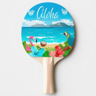 Aloha hawaiischer Strand mit Flamingo und Blumen Tischtennis Schläger