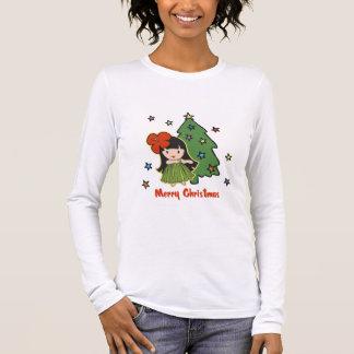Aloha Honig-Weihnachtenhawaiisches Hula Mädchen Langarm T-Shirt