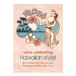 Aloha Hula Mädchen-Party Einladung