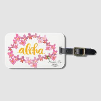 Aloha mutiger Orchideen-Leu-Taschen-Umbau - Weiß Gepäckanhänger