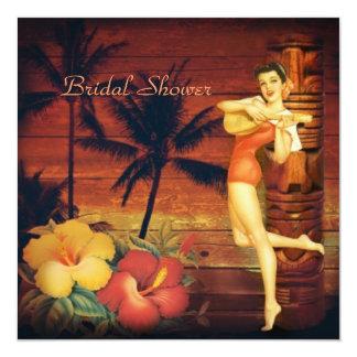 Aloha retro Strand-Brautparty Hula Mädchen-Hawaiis Quadratische 13,3 Cm Einladungskarte