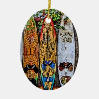 Aloha Sie Surfbrett-Verzierung Ovales Keramik Ornament