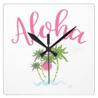 Aloha Strand-hawaiische Art Summera Quadratische Wanduhr