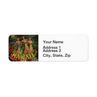 Aloha Tanz-Kunst-Druck Hawaiis Hula Rückversand-Adressaufkleber