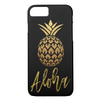 Aloha tropisches Ananas-Schwarzes und Goldfolie iPhone 8/7 Hülle