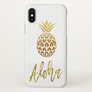 Aloha tropisches Ananas-Weiß und Goldfolie iPhone X Hülle