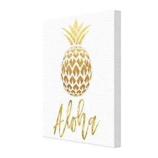 Aloha tropisches Ananas-Weiß und Goldfolie Leinwanddruck
