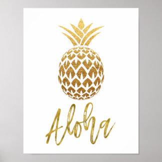 Aloha tropisches Ananas-Weiß und Goldfolie Poster