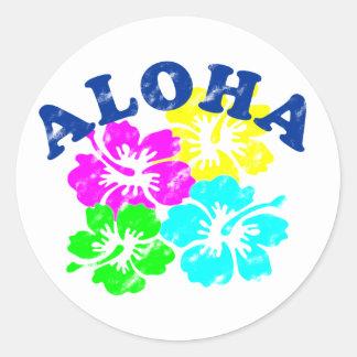 Aloha Vintager klassischer runder Runder Aufkleber